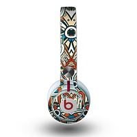 The Decorative Blue & Red Aztec Pattern Skin for the Beats by Dre Mixr Headphones