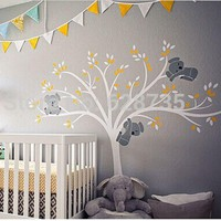 Oversized Large Koalas Tree Vinyl Wall Sticker For Kids Room Decor - Baby Nursery Wall Decals Free Shipping