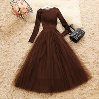 Amolapha Women Knit Mesh Patchwork Dress Long Sleeve Ball Gown Elegant Woman Casual Knitted A-line Dresses