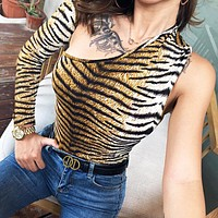 New fashion slim tiger texture print long sleeve romper women
