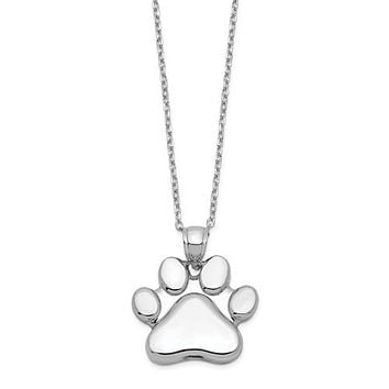 """Sterling Silver Paw Print Ash Holder 18"""" Necklace"""