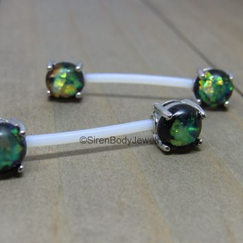 Green opal nipple piercing barbells 14g flexible PTFE bars custom length hypoallergenic