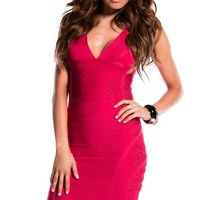 Magenta Thick Strap V-Neck Bandage Dress
