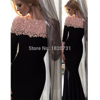 Prom Dress 2017 Long Mermaid Lace-Appliques Elegant Off-the-Shoulder Long-Sleeves Evening Gowns