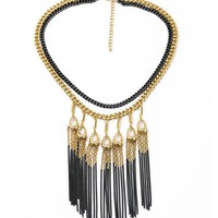 Two-Tone Fringe Chain Bib Necklace
