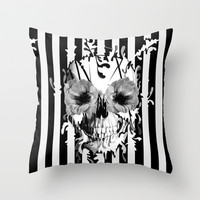 Limbo, Skull with poppy eyes Throw Pillow by Kristy Patterson Design