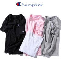 Champion popular logo embroidered logo short sleeve T-shirt for women and men with round collar and large size cotton t-shirts
