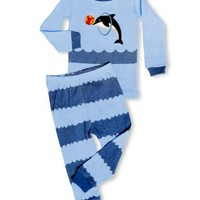 """Leveret Little Boy """"Jumping Dolphin"""" 2 Piece Pajama 100% Cotton (6M-7-8 Years)"""
