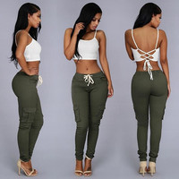 Fashion Casual Pants Women Capris Summer High Waist Camouflage Multi Pocket Leggings Pantalones Mujer Trousers Bottom Clothes