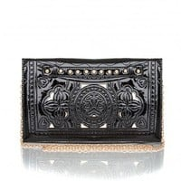 Missguided - Emmy Laser Cut Studded Clutch In Black