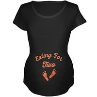 Thanksgiving Eating For Two Black Maternity Soft T-Shirt