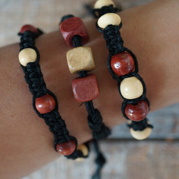 Set of 3 Black Beaded Bracelet Macrame Style Hemp Cord Rope Natural Wood Accents