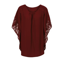 Elegant Lace Blouse Shirt Loose Batwing Sleeve Women Tops Short Sleeves Blouse V Neck Lace Crochet Blusas Mujer SN9