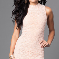 Sleeveless Peach Pink Short Lace Party Dress