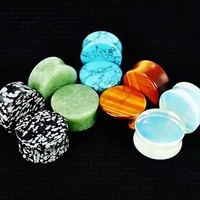 Lot of 5 PAIRS!Organic Semi-Precious Stone Ear Plugs/Saddle Fit/Gauges (pst5lot)