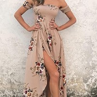 Daydream Diva Floral Short Sleeve Smocked Off The Shoulder Cross Wrap High Low Maxi Dress - 2 Colors Available