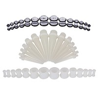 BodyJ4You Gauges Kit Silicone Plugs Tapers 8G-12mm Glow Dark Stretching Set 42 Pieces
