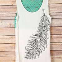 Black Stone Feather Tank with Mint Crochet Back