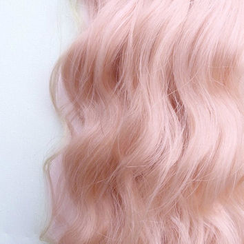 ROSE GOLD Pastel Blonde Pink 100% Human Hair Extensions : Remy Human Hair, Single Clip Extensions, One Weft Extension, Streak Extension