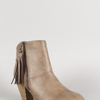 Qupid Tassel Zip Ankle Bootie Color: Taupe, Size: 6