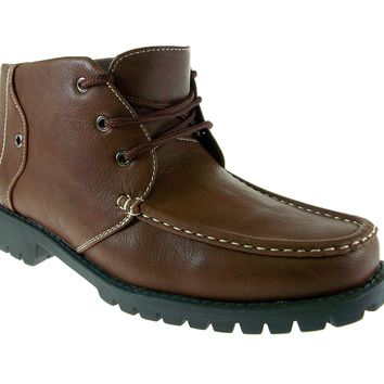 Mens Rocus Lace Up Ankle High Work Boots XH-B2 Brown
