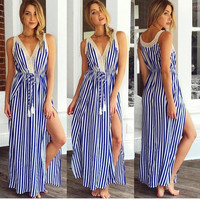 Sexy Long Cocktail Evening Party Stripe Skirt Women's Summer Maxi BOHO Dress LOT