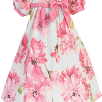 Pink Floral Print White Cotton Spring Occasion Dress with Taffeta Trim (Baby Girls Sizes)