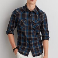 AEO Plaid Button Down Shirt , Fleet Navy   American Eagle Outfitters