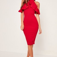 Missguided - High Neck Frill Cold Shoulder Midi Dress Red
