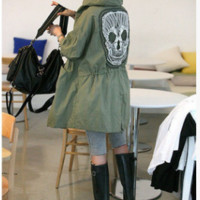 S-XL Women Skull Retro Military Parka Button Oversized Trench Hooded Jacket Coat [9819250895]