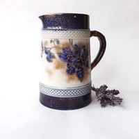 Antique Flow Blue Tube Lined Jug, Blue & White Victorian Pitcher, Wiltshaw and Robinson Carlton Ware, Staffordshire Pottery