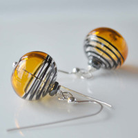 Yellow Bumble Bee Hollow Glass Earrings on Sterling by bstrung