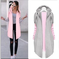 2017 Autumn Women Fashion Clothing Patchwork Casual Long Coat Women's Hoody Jacket Long Cardigans Spring Outerwear Coats Female