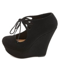 Cut-Out Lace-Up Mary Jane Platform Wedges