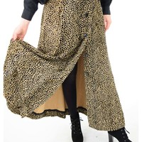 70s Plush Velvet Cheetah Print Maxi Dress