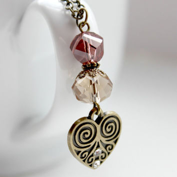 Downton Abbey Inspired Brown and Plum Beaded Pendant in Antique Gold with Heart Charm - Neo Victorian Jewelry - Ready to Ship