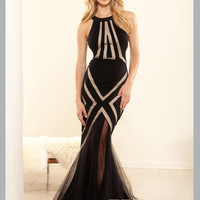 Nude Cut-Out Form Fitted Mermaid Terani Couture Prom Dress P3115