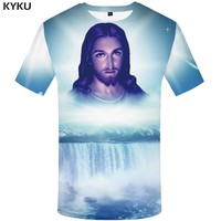 KYKU Jesus T Shirt Men Character Tshirt Waterfall 3d Print T-shirt Punk Rock Clothes Mountain Mens Clothing Summer Casual Tops