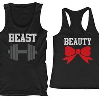 365 In Love Beauty and Beast His and Her Cute Matching Tank Tops for Couples