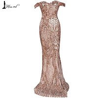 Missord 2016 Sexy bra  party dress sequin maxi dress FT4912
