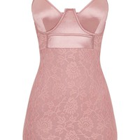 Dusty Pink Satin Top Buster Lace Bodycon Dress