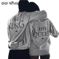 Queen King Couple Sweatshirts Tracksuit Women Long Sleeve Printing Letter Pullover Survetement Femme Marque 2016