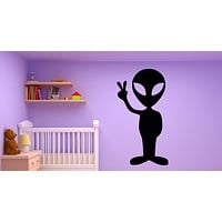 Vinyl Decal Funny Alien Peace Sign Green Friends Area 51 Mural Wall Art Sticker for Children's Room Unique Gift (m043)