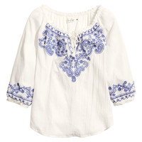H&M - Embroidered Blouse - White - Ladies