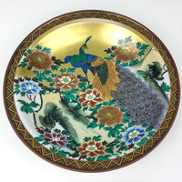 Large Peacock Plate Decorative Chinese, Vintage Painted Chinese Peacock Bowl, Gold Blue Red Green Black Painted Plate Bowl, Peacock Pattern