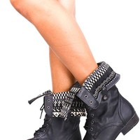 Elegant FAUX LEATHER LACE UP FOLD OVER COMBAT BOOTS 55 black