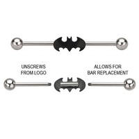 Officially Licensed Batman Bar Barbell Stainless Steel Body Jewelry