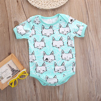 2016 New Toddler Newborn Baby Girl Boy Clothes Cartoon Fox print Bodysuit Jumpsuit One-pieces Outfits 3-18M