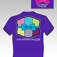 SALE Sassy Frass Sassy Southern Collection Preppy Quilt Bow Bright Girlie T Shirt