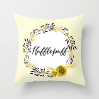 HP Hufflepuff in Watercolor Throw Pillow by Snazzy Sisters | Society6